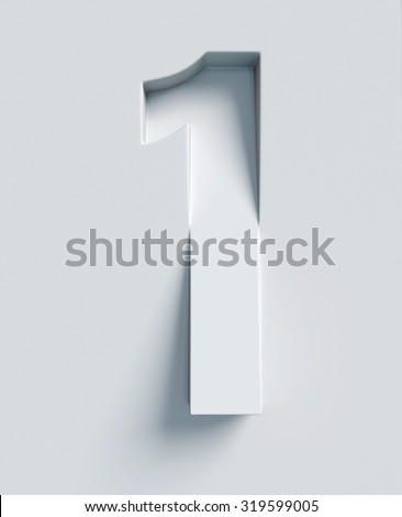 Number 1 slanted 3d font engraved and extruded from the surface - stock photo