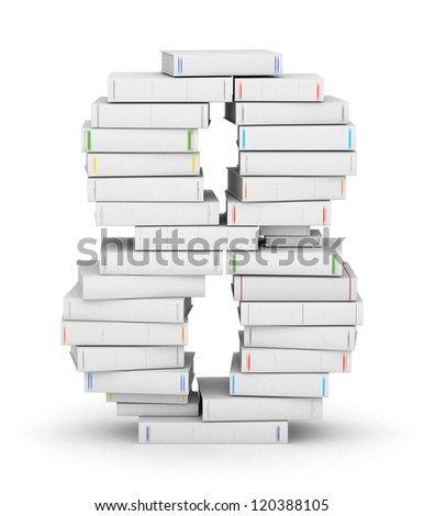 Number 8, stacked from many blank title books in column - stock photo