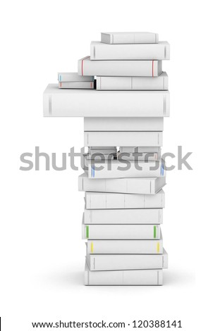 Number 1, stacked from many blank title books in column