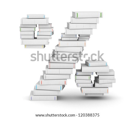 Number , stacked from many blank title books in column - stock photo
