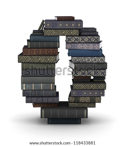 Number 0, stacked from many  books in pile - stock photo