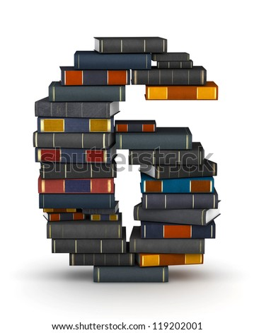 Number 6, stacked from many encyclopedia books in pile - stock photo