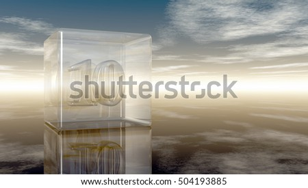 number ten in glass cube under cloudy sky - 3d rendering
