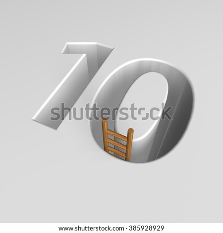 number ten shape hole with ladder - 3d illustration - stock photo