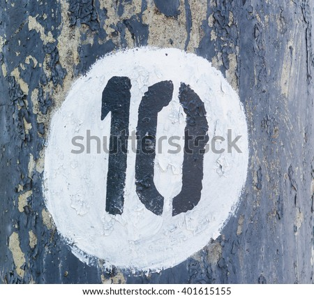 Number ten typed in the white circle - stock photo
