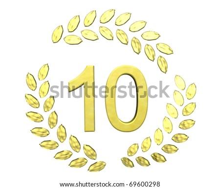 number ten with laurel wreath - stock photo