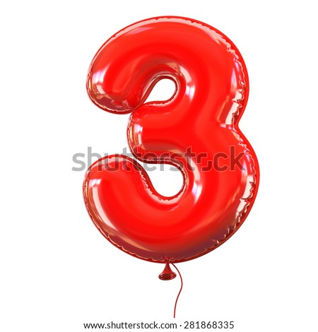 number three - 3 balloon font - stock photo