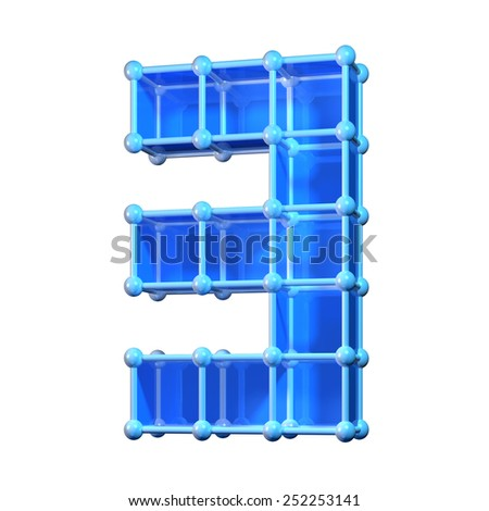 Number three, 3. 3D molecular structure. Numerals isolated on white background. - stock photo