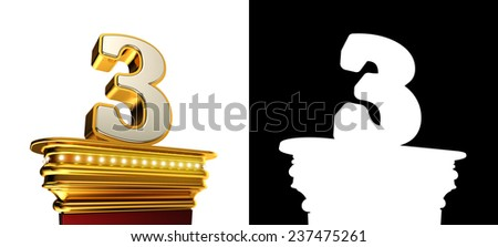 Number Three on a golden platform with brilliant lights over white background with alpha map - stock photo