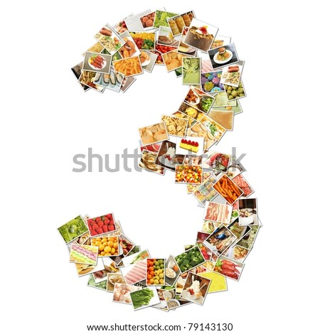 Number 3 Three with Food Collage Concept Art - stock photo