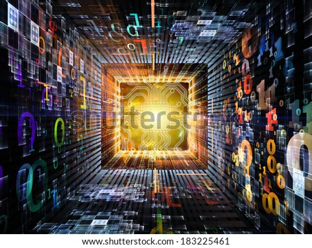 Number Tunnel series. Abstract design made of CPU chip, colorful numbers and fractal elements in perspective on the subject of computers, mathematics, science and education - stock photo