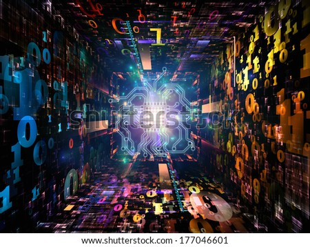 Number Tunnel series. Background design of CPU chip, colorful numbers and fractal elements in perspective on the subject of computers, mathematics, science and education
