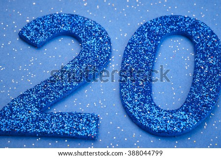 Number twenty blue color over a blue background. Anniversary. Horizontal