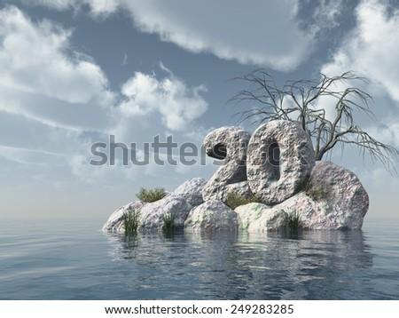 number twenty rock at water - 3d illustration - stock photo