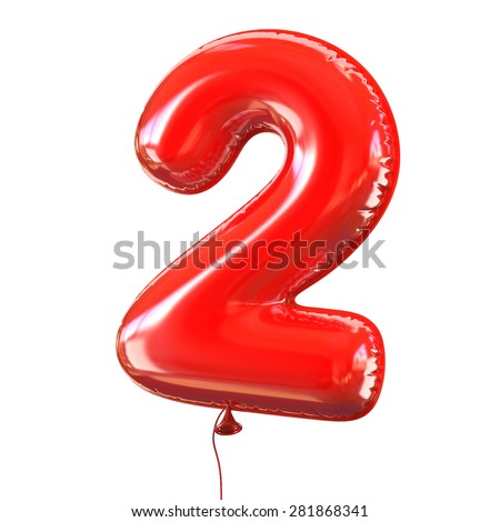 number two - 2 balloon font - stock photo