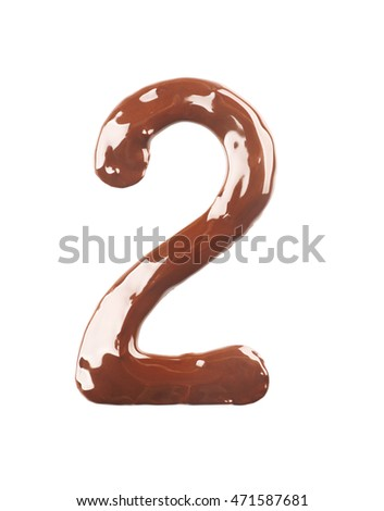 Number two made of liquid chocolate, isolated on white