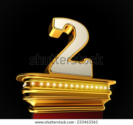 Number Two on a golden platform with brilliant lights over black background - stock photo