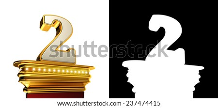 Number Two on a golden platform with brilliant lights over white background with alpha map - stock photo
