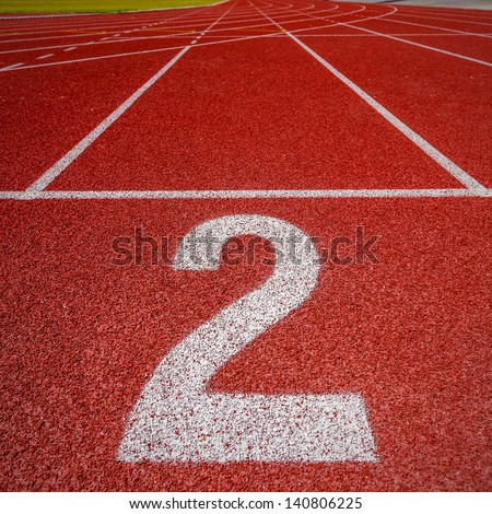 Number two on athletics all weather running track
