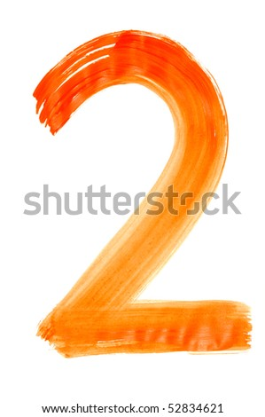 number two painted on a white background - stock photo