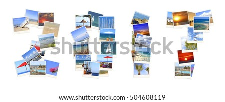 Number 2017 (Two thousand seventeen) New Year executed of  photos of Mediterranean sea coast landscapes. Isolated on a white background