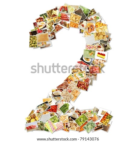Number 2 Two with Food Collage Concept Art - stock photo