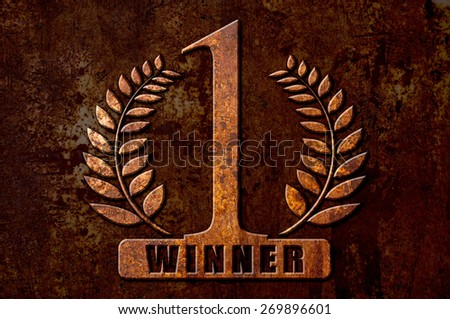 Number 1 winner concept on metal rust background - stock photo