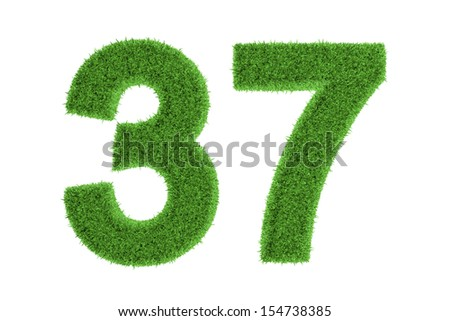 Number 37 with a fresh green grass texture and a three dimensional effect conceptual of an eco-friendly font and conserving nature, isolated on white