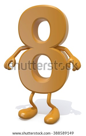 number 8 with arms and legs posing, isolated on white 3d illustration - stock photo