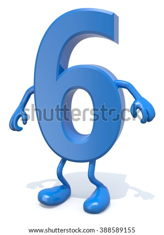 number 6 with arms and legs posing, isolated on white 3d illustration - stock photo
