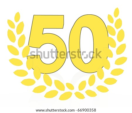 number 50 with laurel wreath - stock photo