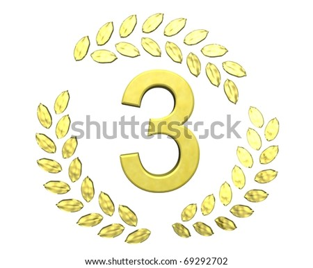 number 3 with laurel wreath - stock photo