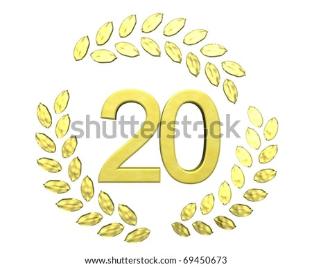 number 20 with laurel wreath - stock photo