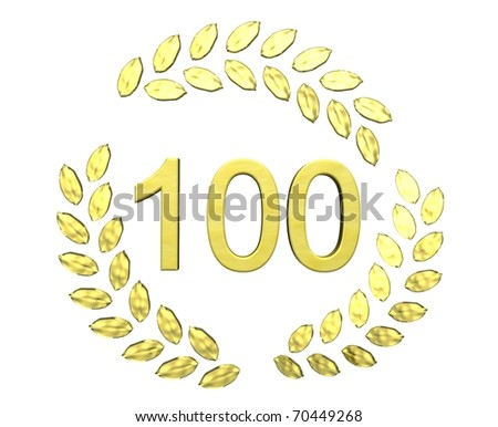 number 100 with laurel wreath - stock photo
