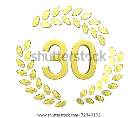 number 30 with laurel wreath - stock photo