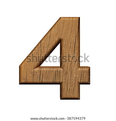 Number 4,  wooden, 3d, isolated on the white