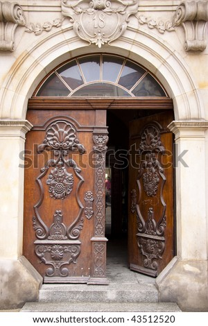 Number 18. Wooden open pattern and old door - stock photo