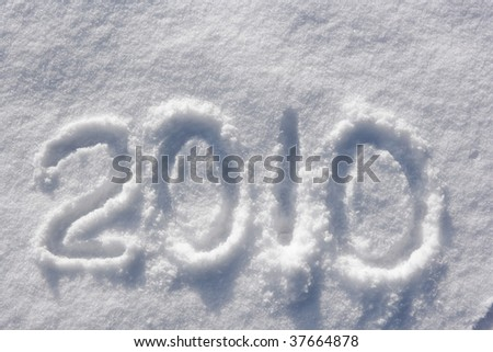 number 2010 written in glittering snow