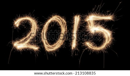 Number 2015 written with a sparkler. - stock photo