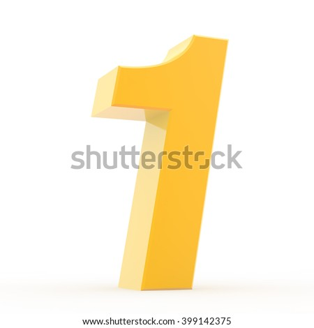 Number 1 yellow gold collection on white background illustration 3D rendering