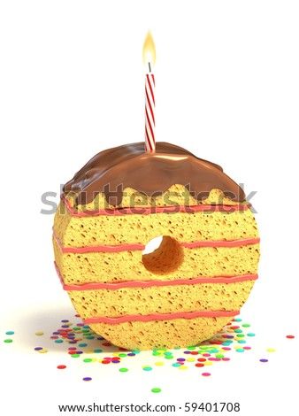 number zero shaped chocolate birthday cake with lit candle and confetti - stock photo