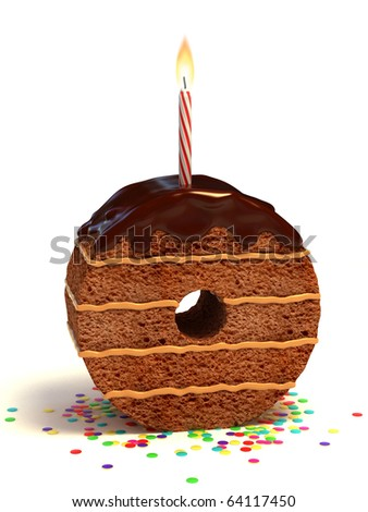 number zero shaped chocolate birthday cake with lit candle and confetti