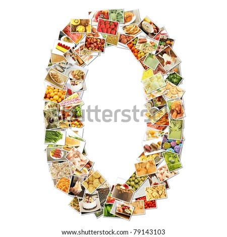 Number 0 Zero with Food Collage Concept Art - stock photo