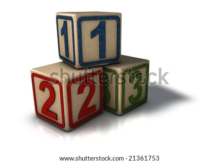 Numbered Building Blocks Icon - stock photo