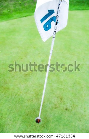 Numbered golf flag and hole.