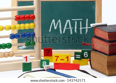 Numbers,abacus and books- mathematical background - stock photo