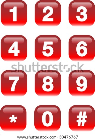 Numbers buttons - stock photo