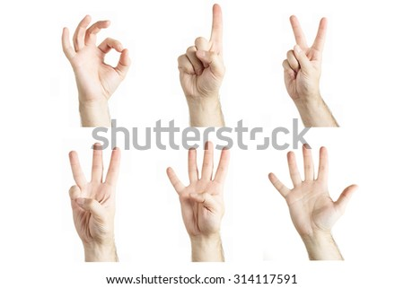 Numbers 0-5 by human hand gesture on white background - stock photo