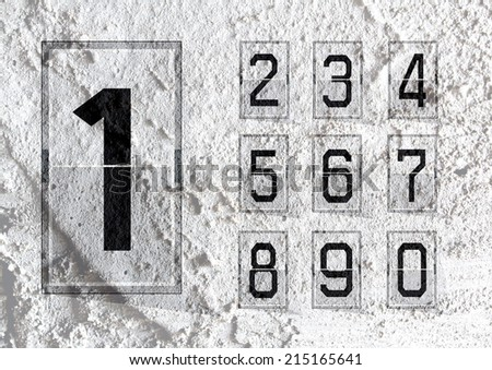 Numbers clock flip Scoreboard Illustration on Cement wall Background texture - stock photo