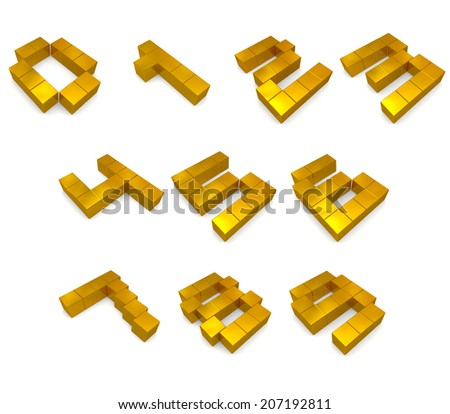 numbers 3d cubic golden - stock photo
